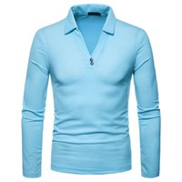 Mens Long Sleeve Polo Shirt V- neck Spring Tops Tees Solid Co...