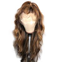 PAFFO frente del cordón pelucas de pelo humano para las mujeres la onda del cuerpo Resaltar color Ombre Honey Blonde brasileño peluca llena del cordón de Remy