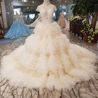 Sexy Ruffle Ball Gown Wedding Dresses Illusion High Neck Sho...
