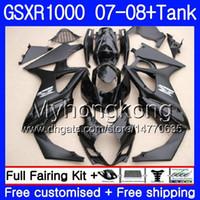 Kit + tanque para SUZUKI GSX R1000 GSXR-1000 Negro brillante GSXR 1000 2007 2008 301HM.32 GSX-R1000 07 08 Carrocería K7 GSXR1000 07 08 Carenado 7Regalos