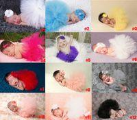 20 Renkler Yenidoğan Bebek Ilmek Dantel Tutu Elbise 2 ADET Set Çiçek Kafa + Tutu Etek Bebekler Fotoğraf Fotoğrafçılık Sahne Kostümleri Takımları 0602041