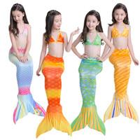 الفتيات ملابس الصيف السباحه مجموعات مولود جديد ملابس السباحة ليتل ميرميد الذيل ملابس السباحة ثوب السباحة ملابس 3PCS ل12/04 Y الاطفال ملابس