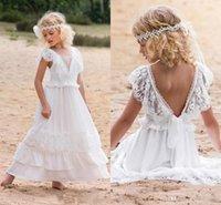 Weiß Lovley Einfache Bohemain Spitze Blumenmädchenkleider Für Strandhochzeit Eine Linie V-ausschnitt Chiffon Knöchellangen Erstkommunion Kleid