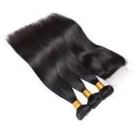 Şanslı Kraliçe Perulu Düz Saç Kapatma Ile 3 Demetleri Dantel Kapatma 4 adet İsviçre Dantel İnsan Saç Dokuma Remy Saç