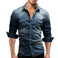 Tradizionale camicia denim autunno uomini casuali dimagriscono denim camicie da uomo con tasca pattina e bottone a scatto da M-XXXL