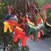 Końskie Tassels Keychain PU Leather Pony Charm Wisiorek Dla Kobiet Torba Torebka Plecak Ornament Key Chain Auto Car Decoration Gift 16 Styles
