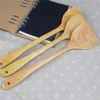 Cocina de madera de bambú natural cocina creativa hogar antiadherente utensilios de cocina de madera mango largo espátula herramienta de cocina ST093