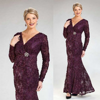 Grape Purple Mother Of The Bride Dresses V Neck Lace Crystal...