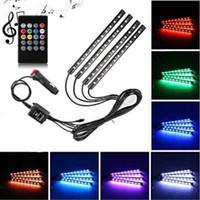 أضواء قطاع السيارات LED، 48 أضواء السيارات بقيادة السيارة 12 فولت متعدد الألوان RGB الموسيقى الداخلية أضواء الجو النيون