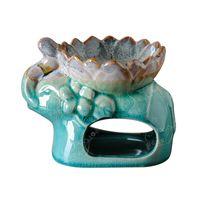 Thailändischer Elefant ätherischer Ölbrenner-Duftlampen mit Lotus-Blumenschüssel Eisrissglasur Keramik-Aromatherapie-Diffusor-Kerzenhalter fünf Farben