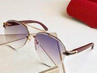 8200986 Lunettes de soleil pour les hommes ovale ovale Cadre pieds en bois UV400 Hommes populaires lunettes de soleil surdimensionnées Vintage style rétro viennent avec le cas