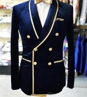 Trajes de fiesta de los hombres de verdad Foto doble de pecho Mantón solapas de terciopelo casarse de esmoquin Blazer Prom comerciales sólo una chaqueta