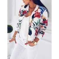 Donne Cappotto Moda Donna Floral Zipper Up Bomber Jacket Casual Coat Autunno Outwear Abbigliamento donna Drop Shipping
