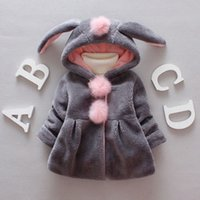 Cute Plush Rabbit Ear Hoodies Hooded Warm Coat Jacket Outwea...