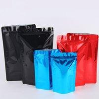 Multi-tailles Feuille d'aluminium brillant coloré debout debout de café debout en plastique Reversable Reshable Food Emballage Ziplock Stand Pouch