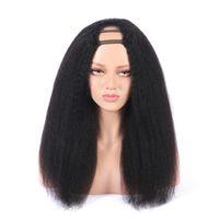 Kinky Düz Orta U Parçası İnsan Saç Peruk 180% Yüksek Yoğunluklu Brezilyalı Remy Saç Peruk Orta Boy Kap Ücretsiz Kargo