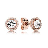 Boucle d'oreille ronde d'étincelles d'étincelles de luxe or rose plaqué or pour Pandora CZ Diamond Petites boucles d'oreilles pour femmes filles avec une boîte originale