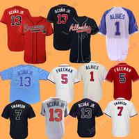 2019 New Ronald Acuna Jr. Jr Jersey Ozzie Albies Atlanta Braves Freddie  Freeman Dansby Swanson Dale Murphy Chipper Jones Hank Aaron 6ced8d812