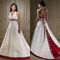 간단한 빈티지 레드와 화이트 웨딩 드레스 가운 고삐 네클라인 A 라인 페르시 자수 디자인 새틴 채플 기차 웨딩 드레스 2020 스타일