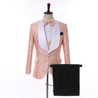 Neueste 2019 Männer Silk Gedruckt Hochzeit Smoking Bräutigam Anzug Mit Hosen Schwarz Mädchen Paar Tag Maßgeschneiderte Mann Anzüge (jacke + Pants + Bow + Vest))