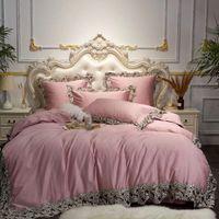 Rosa Blu Vino Rosso egiziano cotone Bedding Set Regina Re Copripiumino Pizzo lenzuolo / lenzuola federe cuscino decorativo