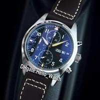 Новый пилот Spitfire истребитель день дата стальной корпус черный циферблат IW387903 Япония 6s00 Кварцевый хронограф мужские часы коричневый кожаный ремешок Hello_Watch