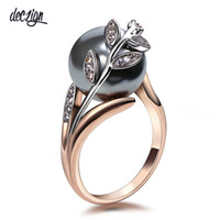Deczign Rose gold ring with Gray Pearl for women Leaf Trendy...