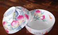 Longevity bowl melocotón hueso China bowl Jingdezhen porcelana longevity bone China sobre la pared melocotón longevidad solo bowl