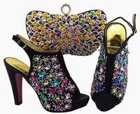 Schöne schwarze Frauen Pumps und Tasche mit bunten Kristalldekoration afrikanischen Schuhen passend zur Handtasche für Kleid QSL005, Absatz 12cm