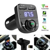 X8 transmetteur FM transmetteur Aux modulateur Bluetooth mains libres audio récepteur MP3 lecteur MP3 3.1A Charge rapide Double USB avec boîte