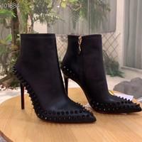 التمهيد الكاحل مصمم النساء السود الكعب العالي الحذاء الأحمر الأحذية المسامير أسفل الأحذية منصة الأزياء الأفعى اللباس أحذية الشتاء الجلد حفل زفاف