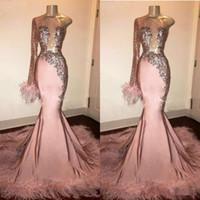 Chica Negro del rosa de la manga del brillo de lentejuelas vestido de fiesta largo de la sirena con las plumas de tren vestido formal vestidos de noche de un hombro de África