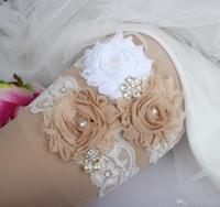Gelin Jartiyer Rhinestone Inciler Kristal Boncuk Şampanya Çiçekler Dantel Gelinin Düğün Artı Boyutu Fabrika Toptancıları Için