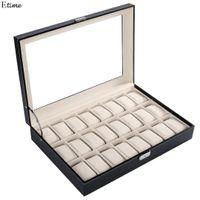 FANALA 24 la red Caja de reloj de cuero de la PU relojes caso de exhibición de la caja de almacenamiento organizador de la joyería de los relojes de bloqueo de teclas grande Boite Montre