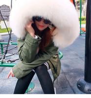 Marca MAOMAOKONG Lavish branco pele de raposa com capuz guarnição ao ar livre frio tempo senhoras casacos de pele branco forro de pele de coelho exército verde lona mini parkas
