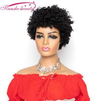 레이스 가발 Tinashe 아름다움 짧은 변두리 곱슬 인간의 머리 가발 브라질 레미 웨이브 블랙 웨미 기계로 만든 자연 색상