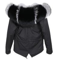 İsveç siyah mini parkas astar İyi siyah gri tilki kürkü Döşeme Hoody MAOMAOKONG marka kadın kar mont gri tavşan kürk