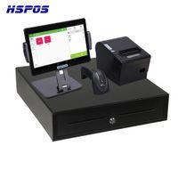 HSPOS 10 인치 안 드 로이드 터치 스크린 포인트 프린터 및 블루투스 바코드 스캐너 및 현금 상자가있는 POS 터미널