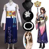 Kadınlar Custom Herhangi Boyutu için yeni Final Fantasy X Yuna Cosplay Kostüm Tam Set Kolye + bilezik + Yüzük + Küpe Cainival Cadılar Bayramı Kostüm