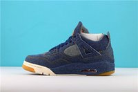 2018 Alta qualità New 4 4s Denim LS Jeans Travis Scarpe da basket Uomo Blue Jeans Sneakers TAGLIA 40-46