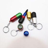 캡슐 텔레스코픽 모양의 알루미늄 금연 파이프 키 체인 담배 금속 건조 허브 손 필터 숟가락 파이프 도구 6 색 오일 장비