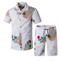 Summer Mens Tracksuits Fashion Printed Tshirt Shorts 2 Piece...