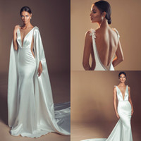 Elihav Sasson Mermaid Wedding Dresses 2019 Deep V Neck Backl...