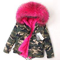 Rose pele de guaxinim guarnição com capuz marca MAOMAOKONG mulheres quentes casacos rosa forro de pele de coelho camuflagem shell mini parkas