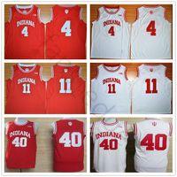 NCAA Indiana Hoosiers College Isiah 4 Thomas Jersey Kırmızı Beyaz Cody 40 Zeller Dikişli Victor 11 Oladipo Üniversitesi Basketbol Formaları Gömlek