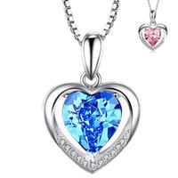 Argent amour en forme de coeur en cristal bleu élégant pendentif coeur éternel beau collier Bijoux Accessoires Femme Style