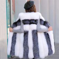 Casaco de Pele Mulheres 2019 Primavera Novo Grey listra branca Tamanho mangas Faux Vest Jacket coreano Escritório Grosso Coats LD774 S-4XL Mais