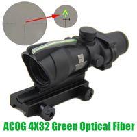 Jakt Riflescope Acog 4x32 Fiberoptik Grön Dot Upplyst Chevron Glass Etched Reticle Real Fiber Weaver Combat Sight