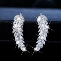 Bianco Zircone foglie Orecchini per borchie di fascino Diamante Diamante Dangle Orecchino Orecchio Orecchio Bone Nail Donne Uomini No Allergie