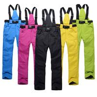 새로운 야외 스포츠 높은 품질 여성 스키 바지 멜빵 남성 방풍 방수 따뜻한 다채로운 겨울 눈 스노우 보드 바지